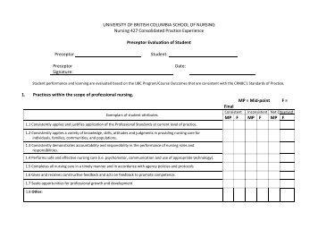 preceptor evaluation of nursing student example