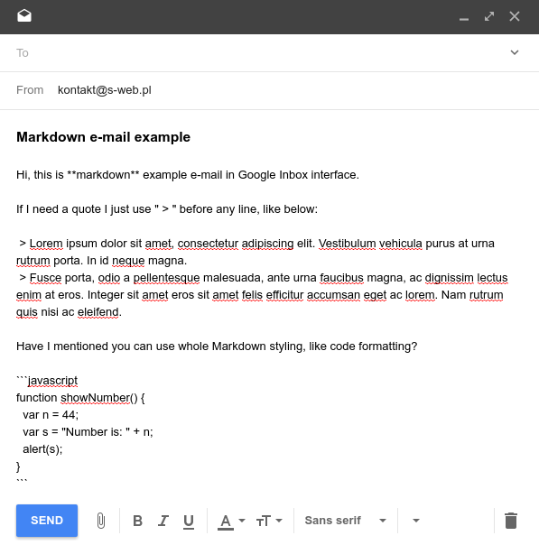 quote and unquote usage in email example