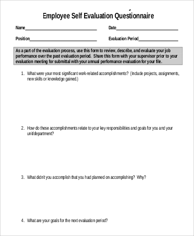 example of a self evaluation employee