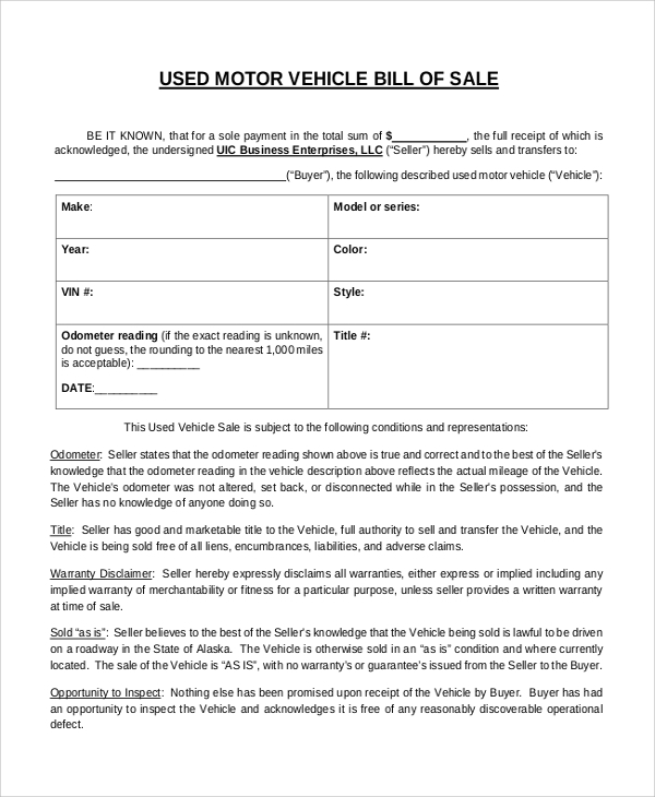 car bill of sale example