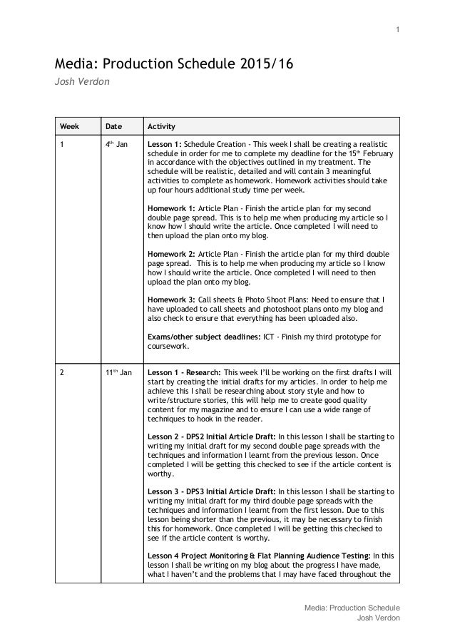 building schedule of works example