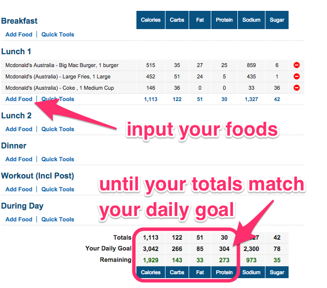 sharny and julius meal plan example