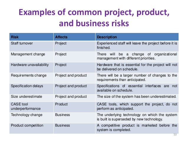 negative project risks with example