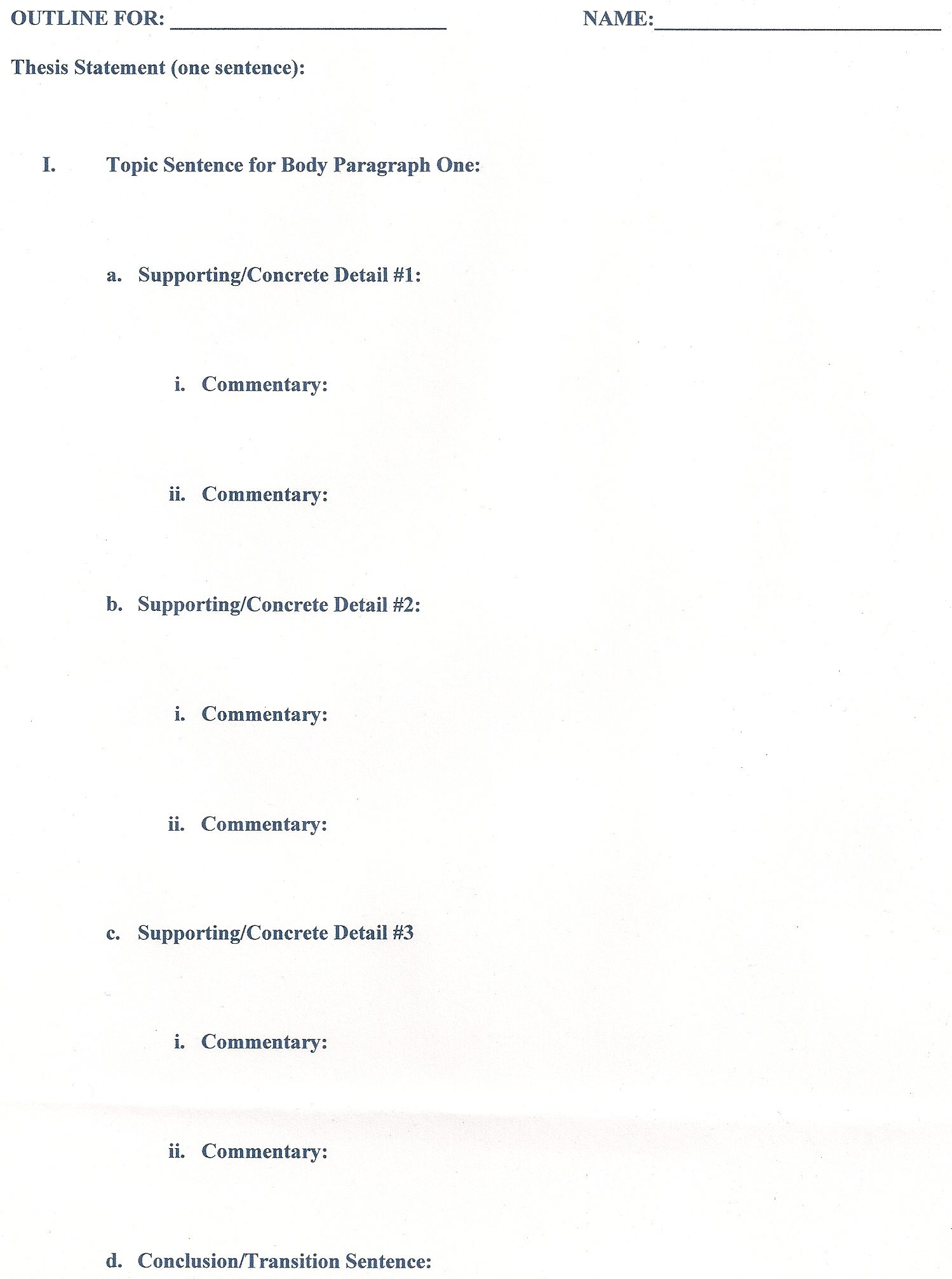 topic outline example research paper