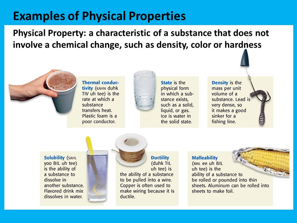 example of physical property in chemistry