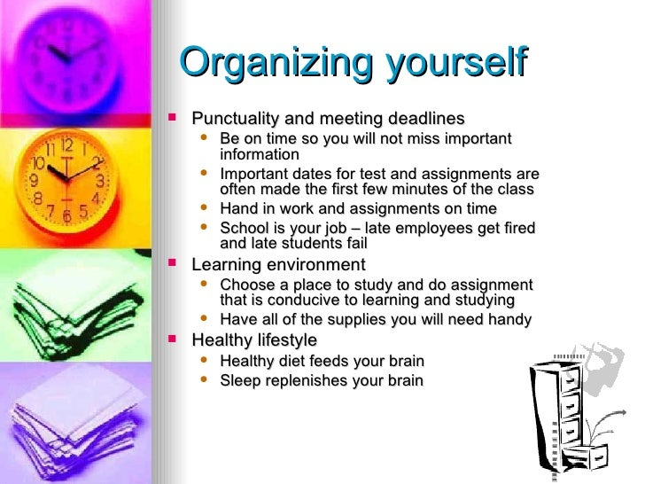 good organization and time management skills example