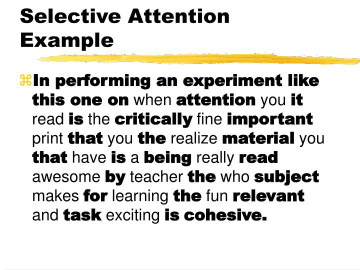 an example of selective attention