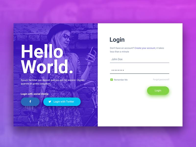free example password locked website template