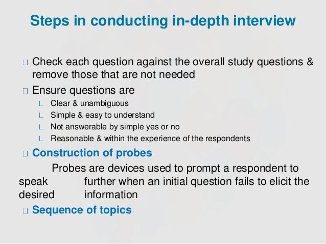 depth interview in marketing research example