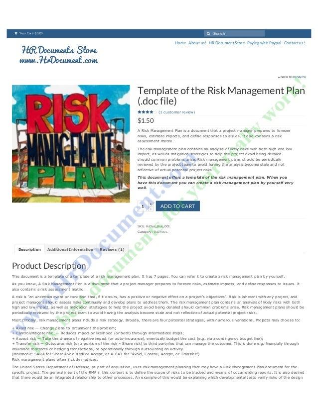 risk management plan example for drugstore