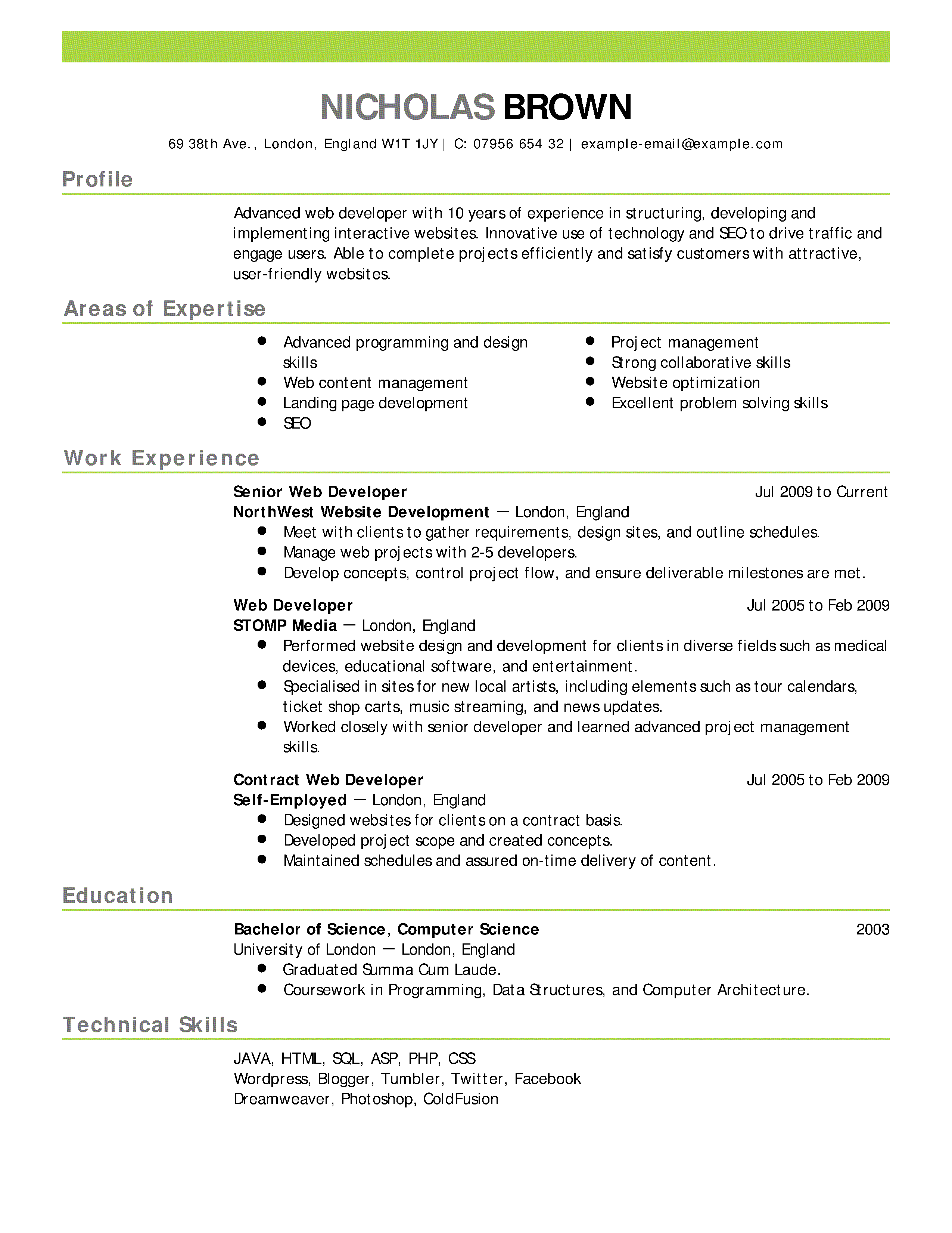 example of a cv for a student in university