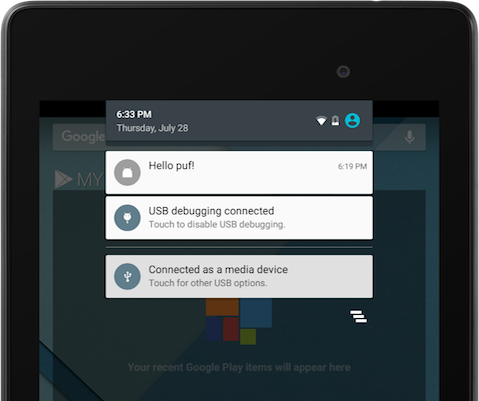 example of push notification in android