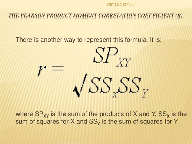 pearson product moment correlation example