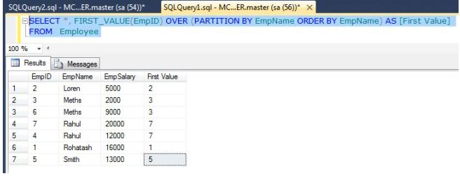 rank function in sql server 2012 with example